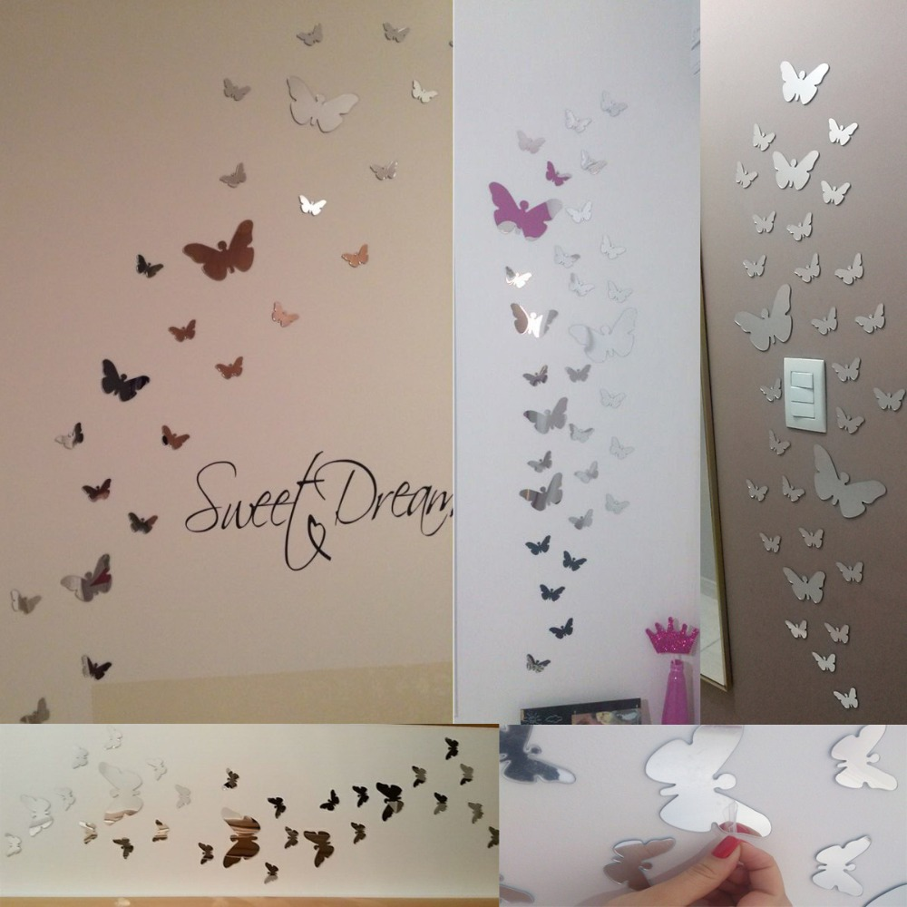 25pcs Modern Mirror Surface Plastic Animal Wall Sticker For Wall Decals 3D Acrylic Stickers Home Decor Diy Adesivos De Parede A2