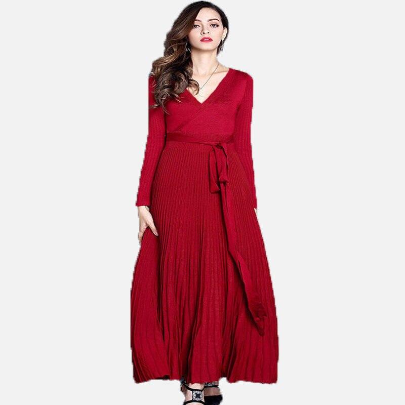 Фото Elegnat Ladies Long Pleated Maxi Dress Vestidos New Autumn Winter Women Sexy V Neck Long Robe Black Basic Knitted Party Dress