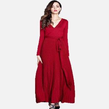 c3f1851626 Vestido largo plisado elegante para mujer nuevo Otoño Invierno mujeres Sexy  cuello en V largo bata negro básico de punto para fiesta