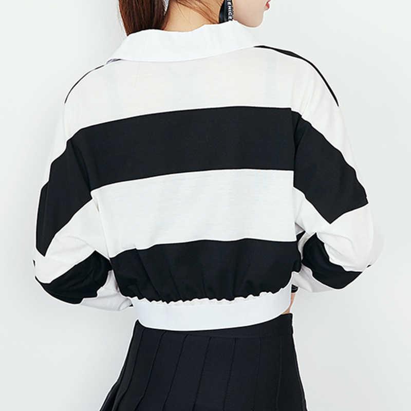 Дамы Демисезонный Топы женские отложным воротником пальто с длинными рукавами Мода полосатый принт Короткие плюс Размеры свободные куртки Z179