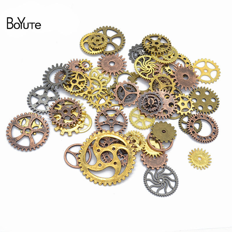 Boyute (30 grama/lote) mix estilos metal vapor punk 6 cores steampunk engrenagens diy liga jóias acessórios