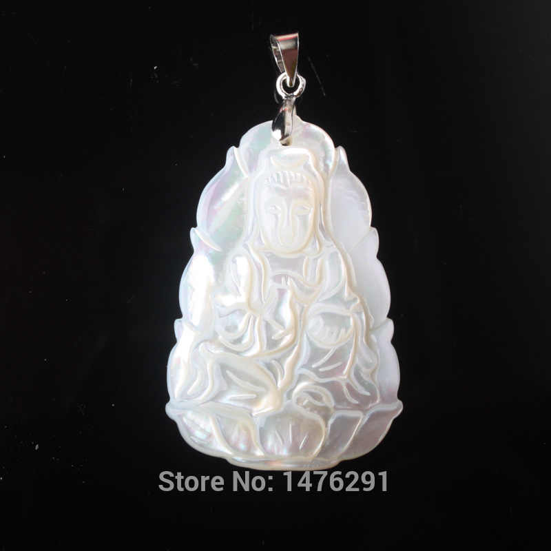 21X37MM Mother Of Pearl Shell Carved Kwan-yin Pendant 1PCS
