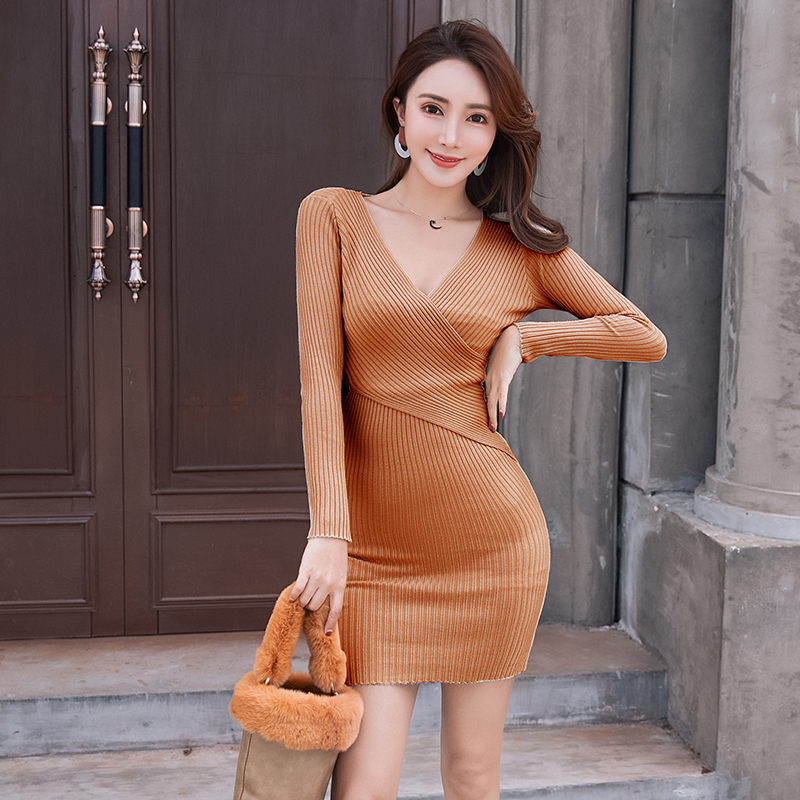 BGTEEVER 11 Colors OL Knitted Cotton Sexy V-neck Sweater Dress Women Casual Hip Packaged Elastic Knitted Dress Vestidos Femme