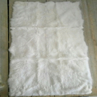 Luxury Primary Real Custom White Rabbit Skin Plate Genuine Fur Rug Pelt New Bed Rug Decorative Fashion Craft Accesory