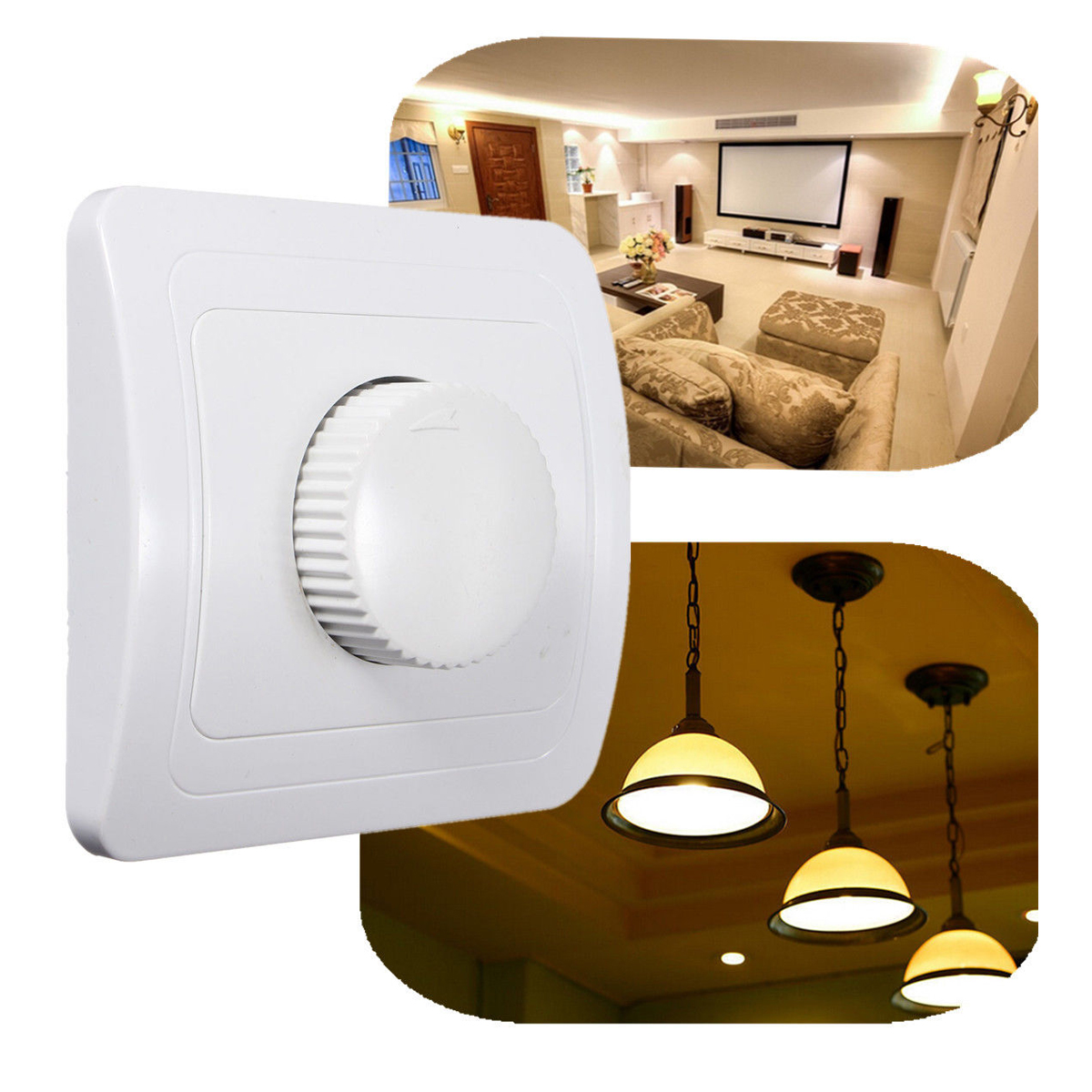 110V / 220V Adjustable Controller Dimmer Switch For Dimmable Light Bulb Lamp White bedroom silver tone knob adjustable light controller dimmer switch
