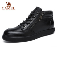 CAMEL Men's Boots Daily Casual Fashion Trendy Men's Genuine Leather Short zipper Man Boot With Warm Fur Male Footwear