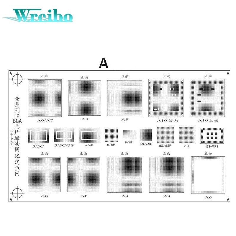 imágenes para Wrcibo BGA Stencil neto de Máscara de Soldadura aceite Verde de Tinta Kit de Herramientas reparación para iPhone Lógica Nand CPU WIFI A8 Chip IC Reballing
