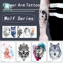 ROCOOART Wolf Temporary Tattoo Stickers Waterproof Women Fake Hand Animal Tattoos Adult Men and Body Art 21*15cm Tattoo.