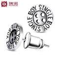Free shipping,S925 silver button pattern stud earring male boy earring all-match fashion personalized jewelry,boy friend gift
