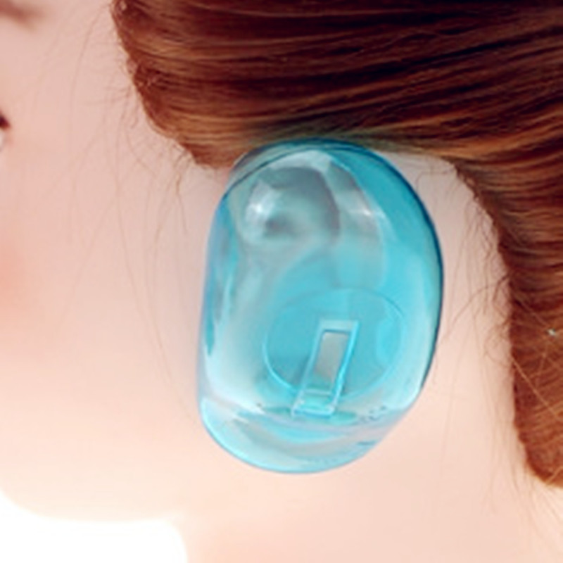 New Hot 2PCS Clear Silicone Ear Cover Hair Dye Shield Protect Salon Color Blue Barber Accessories Hair Stylist Hair Stylist
