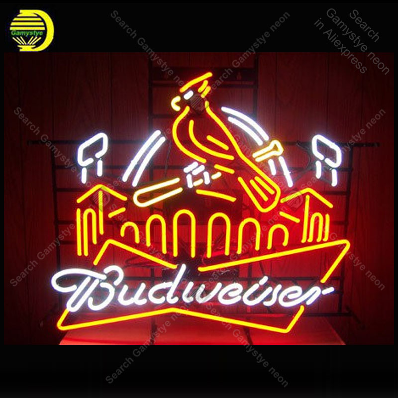 NEON SIGN For Budweise St Loui Red Bird NEON Light Sign GLASS Tube Decor Beer Room Window Handcraft anuncio luminoso Dropship