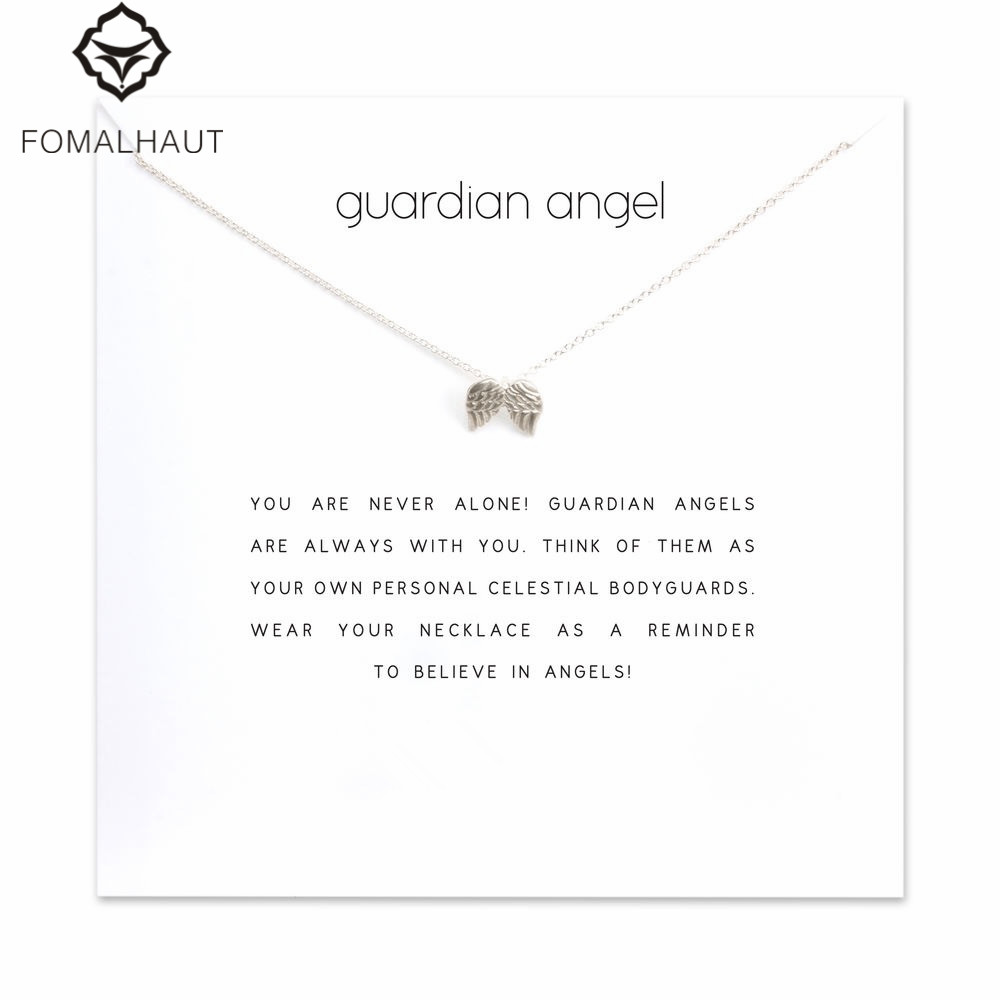 Hot Sale guardian angel angel wings Pendant necklace Clavicle Chains Statement Necklace Women FOMALHAU Jewelry F-3