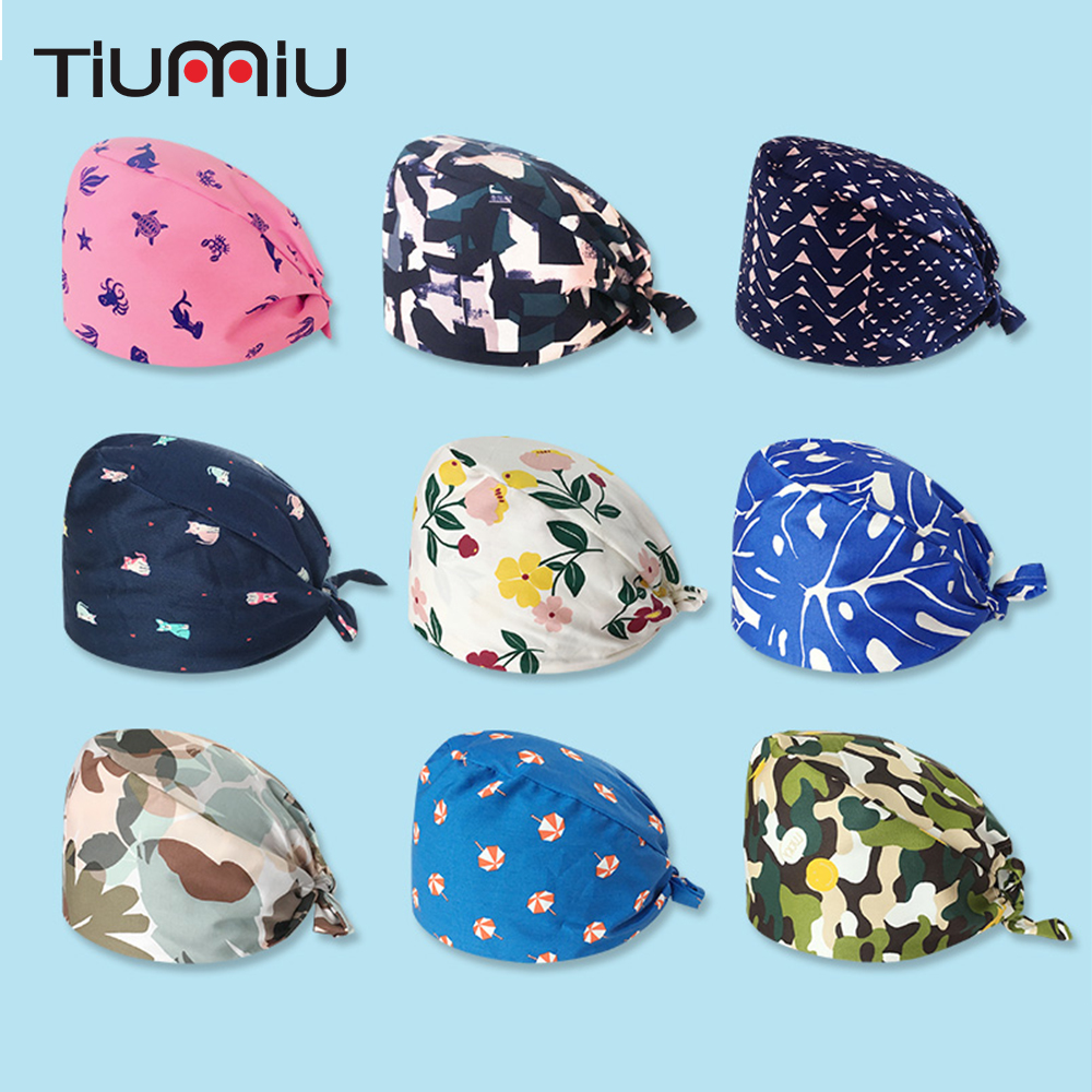 Medical Surgical Surgery Hat Nurse Doctor Printing Cotton Cap With Sweatband Men Women Pet Dentist Beauty Work Cap 17 Colors