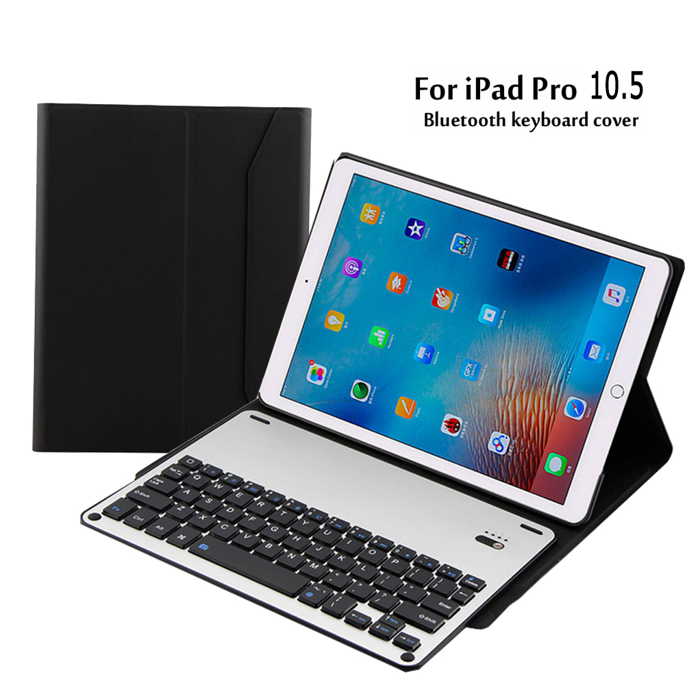 Cover for Apple Pro 10.5 with wireless bluetooth Aluminum keyboard for ipad pro case Flip Stand PU Leather Cover free shipping 2017 new leather case cover beautiful gift new 1pc for ipad pro 12 9inch ultra aluminum bluetooth keyboard with pu kxl0421