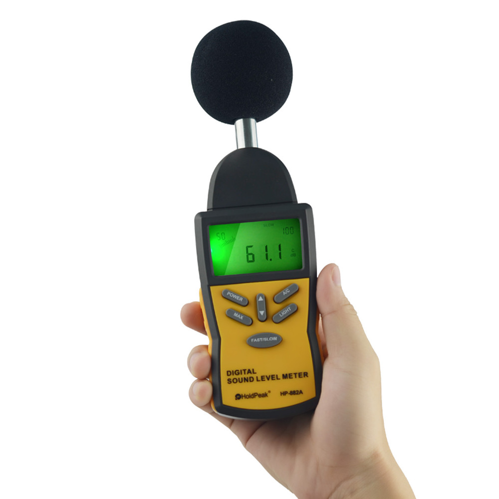 Digital Sound Level Meter HoldPeak HP-882A LCD Noise Measuring Instrument Portable Noise Tester Decibel Noise level measurement uyigao ua824 digital decibel sound level meter noise meter tester with max min hold 30dba 130dba range measurement