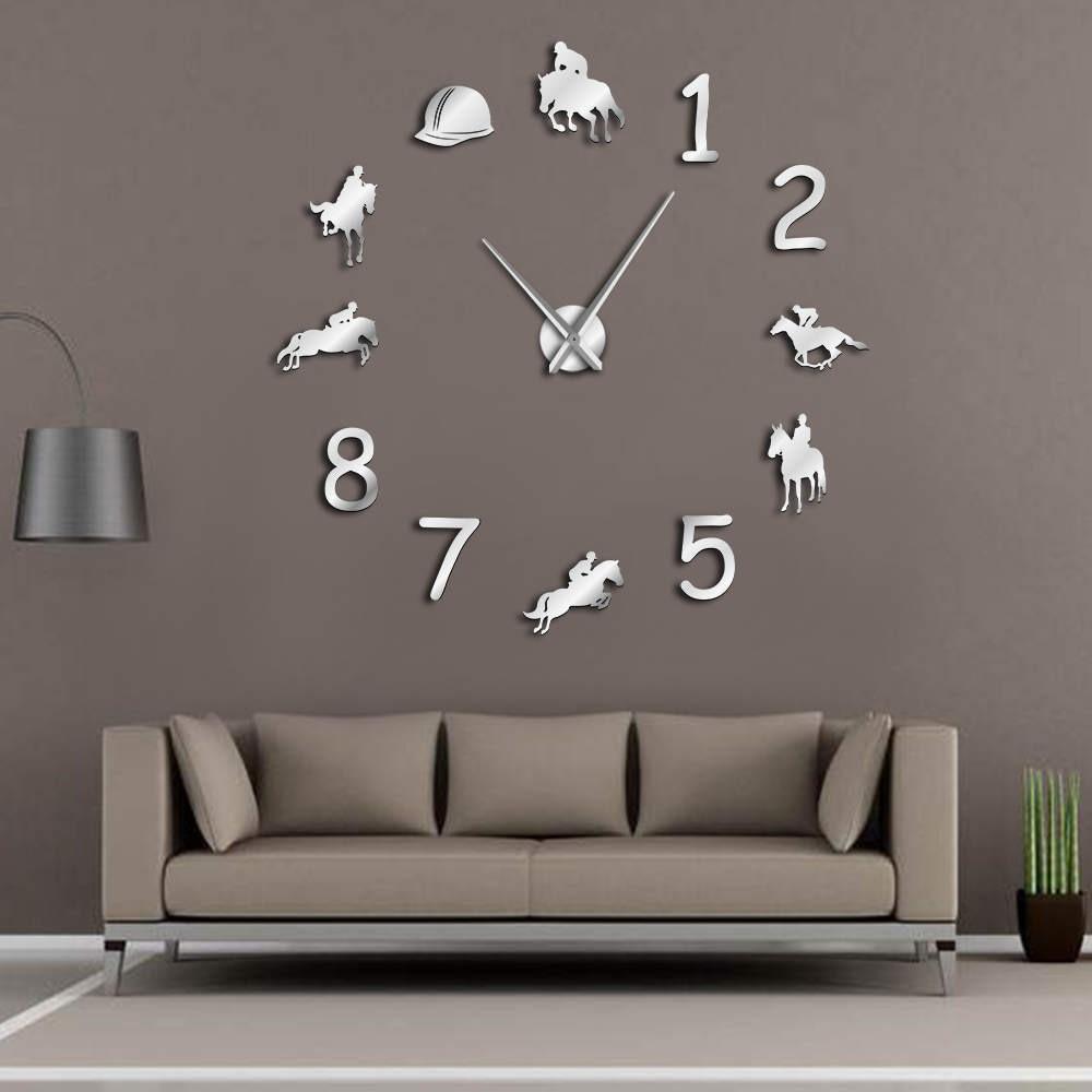 Equestrians Large Wall Clock Farmhouse Home Decor Cowboys Modern Design Giant Wall Clock Rodeo Horse Riding DIY Wall Watch