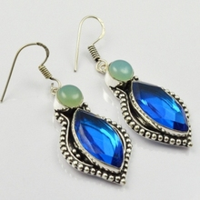 Blue Topas & Chalcedony, Silver Overlay on Copper Earrings, , 54mm  E1930