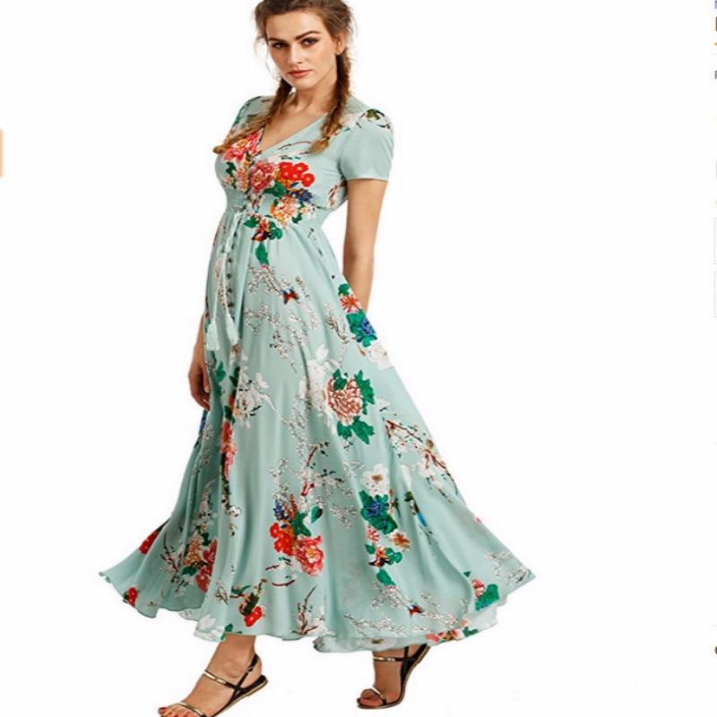 Boho Style Long Dress Women Short Sleeve Beach Summer Dresses Floral Print Vintage Maxi Dress Vestidos De Festa Plus Size