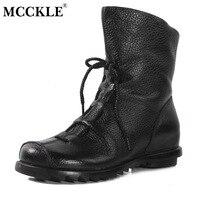 Mcckle mujeres botas vintage zapatos de cuero genuinos de encaje hasta 2017 femenina otoño zapato tacones bajos plataforma mujer más tamaño botas