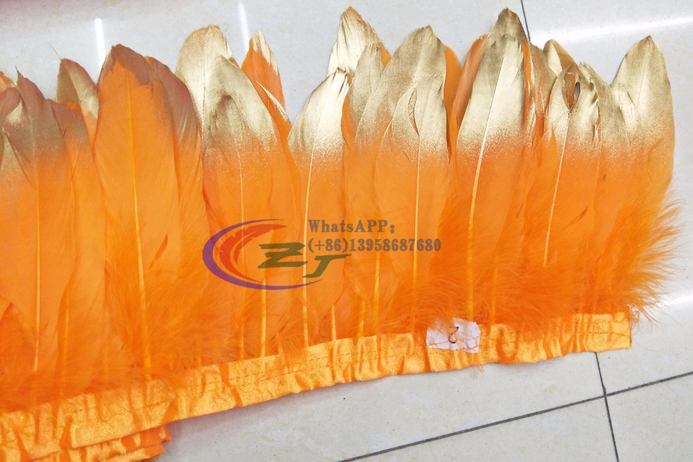 hot sale 10meters top quality natural goose feather fringe Orange Gold Tips Goose Feather Trims with Satin Ribbon Tape for skirt