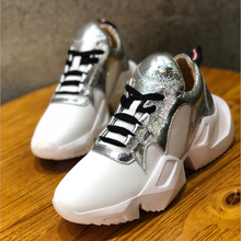 Buy Women's Genuine Leather Thick-Soled White Sneakers 2019 New Luxury Brand Lace Fashion Comfortable Soft Breathable Casual Shoes directly from merchant!
