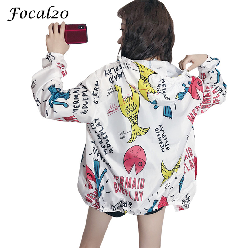 Focal20 Streetwear Cartoon Fish Letter Print Hooded Jacket Coat Women Autumn Zipper Long Sleeve Jacket Feminino Coats