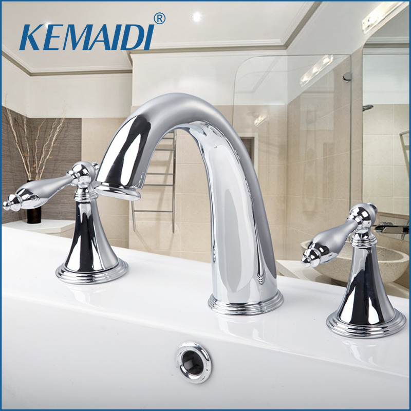 цена на KEMAIDI Chrome Finish 3 Pcs Faucet Spray Tap 2 Handle Waterfall Bathroom Basin Sink Bathtub Mixer Faucet 30H Mixer Tap Faucets