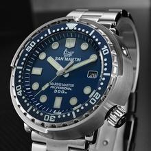 San martin atum sbbn015 moda relógio automático nh35 movimento stainlss aço mergulho relógio 300m resistente à água cerâmica moldura