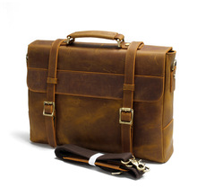 2016 first layer of leather bag full leather handbag Crazy Horse man business Briefcase Bag Shoulder Bag