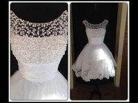 Hot selling white graduation vestido de noiva party gown 2018 beading scalloped neckline sweet 16 short Bridesmaid Dresses