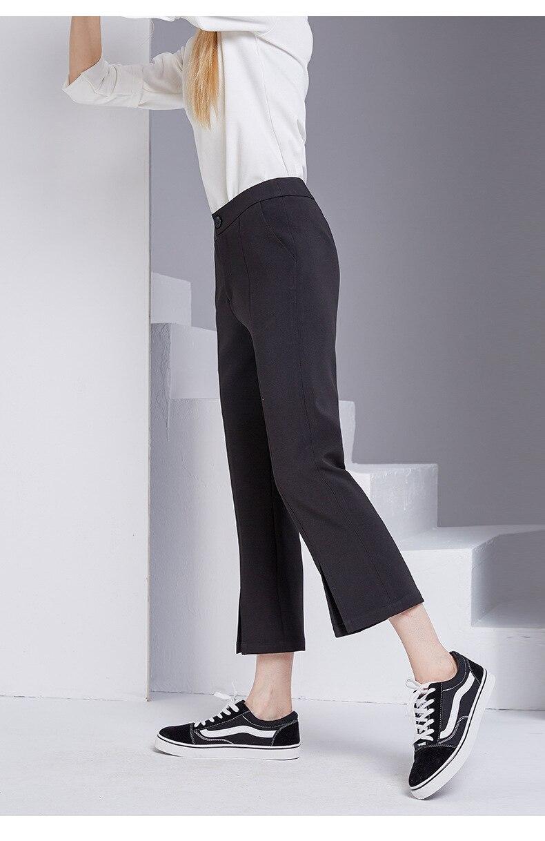 bootyjeans spring 2018 new European high-end women's slim black all-match split ankle length pants casual bottom pants 32