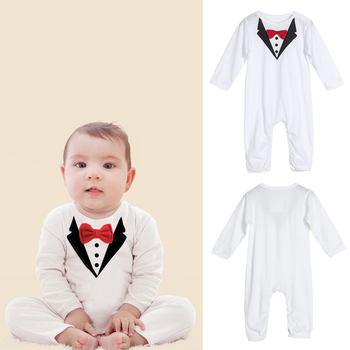 Toddler Handsome Baby Pompers Cool Boy Clothes Baby Long Sleeve Suit Infant Jumpsuit GentlemenBlack Bowknot Rompers Formal Suit 2