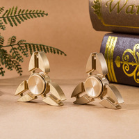 Brass Tri Fidget Spinner Hand Spinner Triangle Ball Desk Focus Toy EDC For Killing Time For