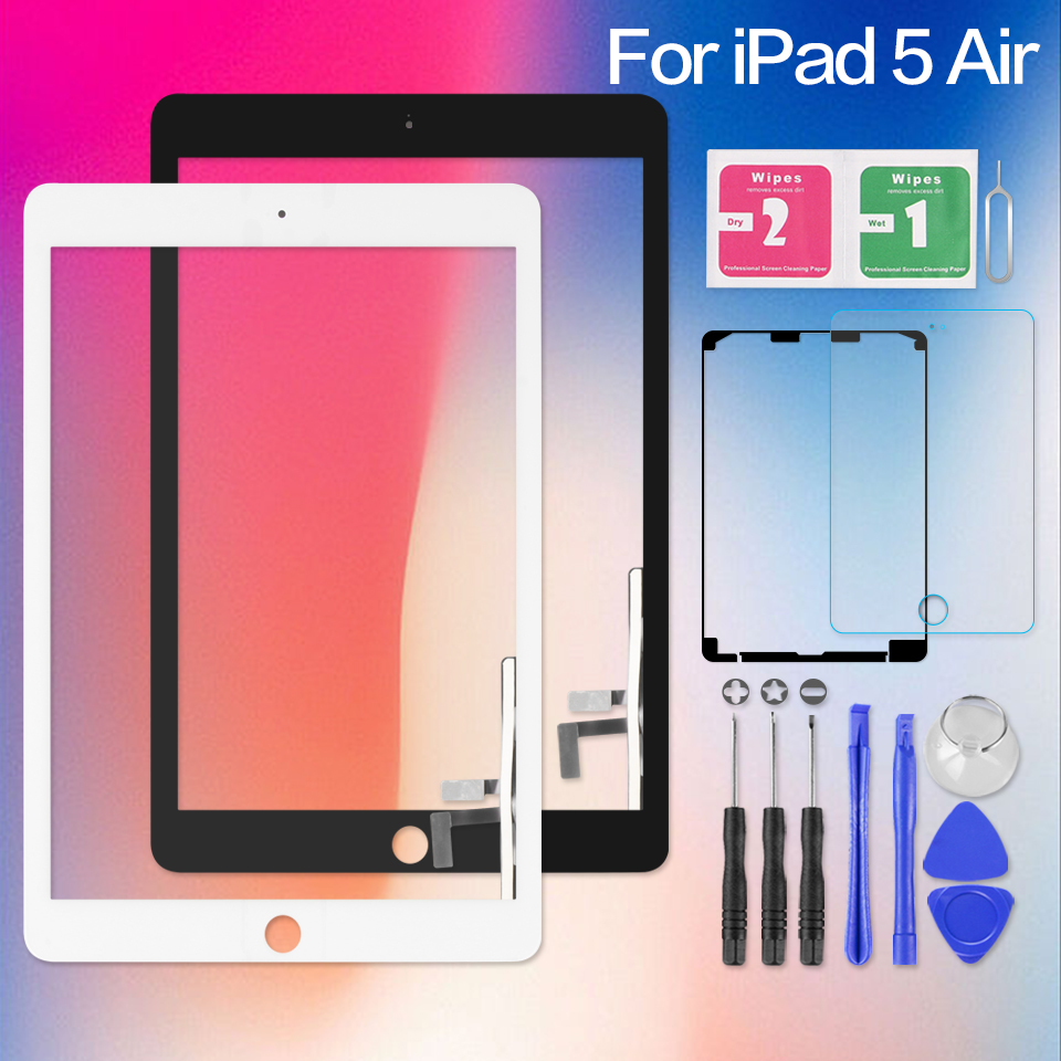 Screen For iPad 5 iPad5 Air 1 Air1 A1474 A1475 A1476 Touch Digitizer Sensor Glass Panel with Home Button Tablet PC Replacement стоимость