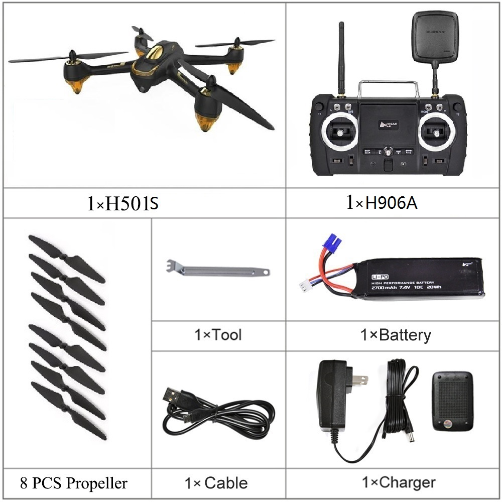 Hubsan Drone Quadcopter Camera H501SS Brushless Follow-Me FPV X4 Pro with 1080P HD GPS