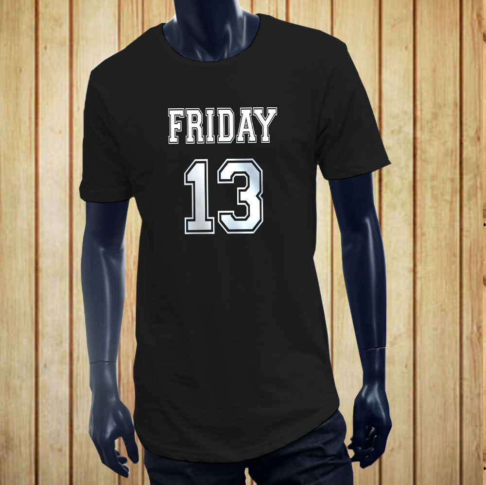 FRIDAY THE 13TH JERSEY WHT LUCK HORROR CREEPY Mens Black Extended Long T-Shirt