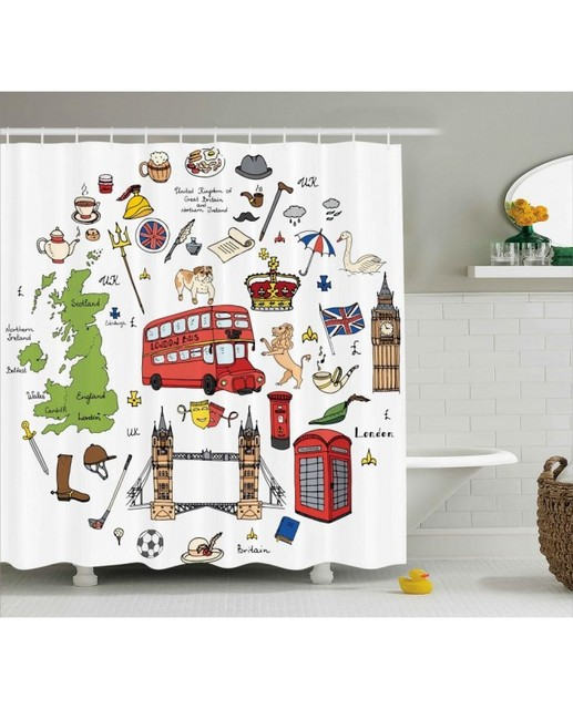 Travel Shower Curtain Sketchy Famous Tourist Print For BathroomWaterproof And Fabric Washable Set With Hooks