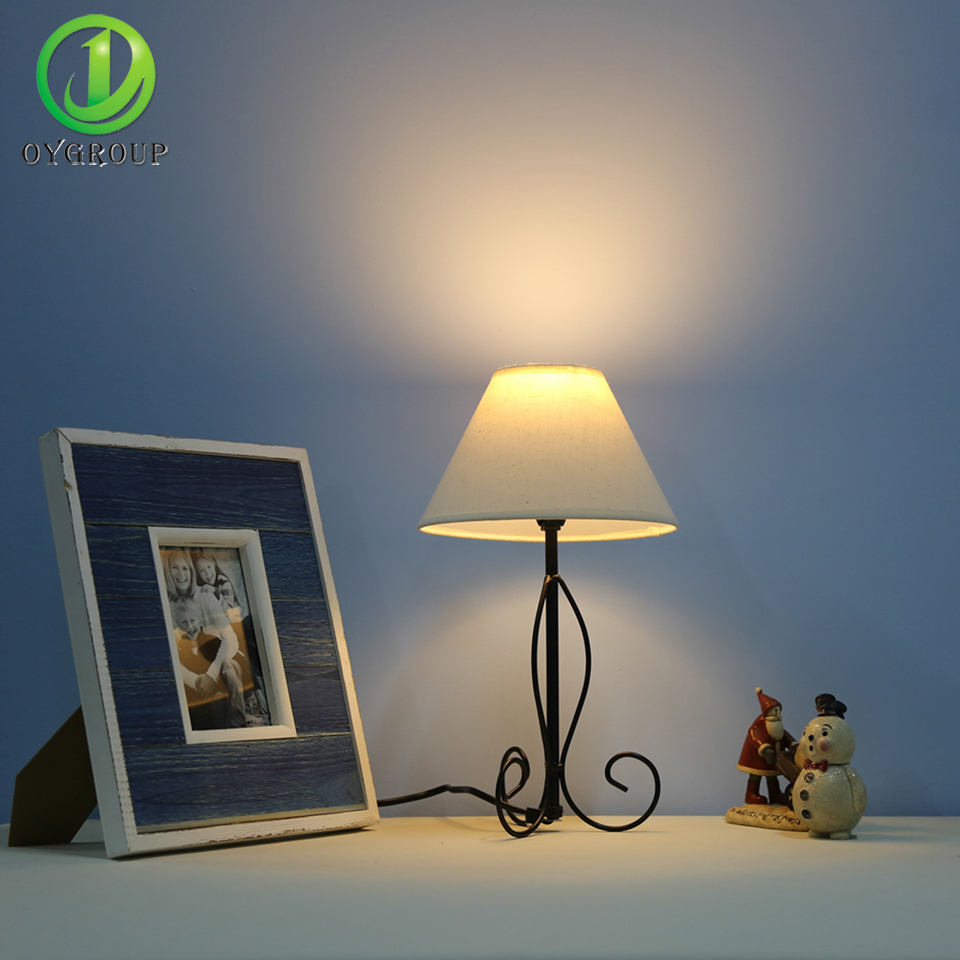 Simple lamps - Modern Simple Table Lamps Desk Light White Linen Lampshade Black Iron Base Decoration For Bedroom Living