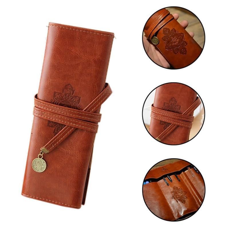 Multifunction File Bag Retro Coffee Student PU Pencil Bag Large-capacity Cosmetic Bags Storage Package