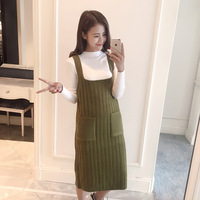 Free ShipingStudent South Korea Chic Wind Simple Temperament Stretch Knitting Long Vest Dress Dress Strap