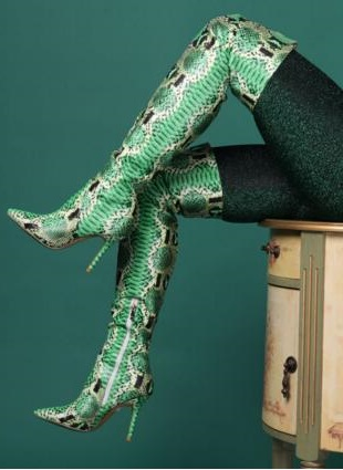Sexy Green Snake Print Leather Over Knee Boots Womens Pointed ToeThigh High Boots Zipper Fashion Winter Long Boots High Heel юлия славачевская богатые тоже скачут или где спит совесть