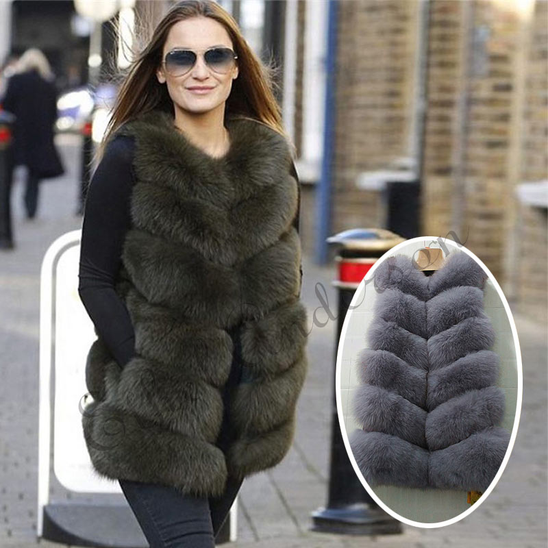 Winter BIGSALE Women Real Fox Fur Vest Natural Genuine Leather Fox Fur Long Vest Real Fox Fur Gilets Women's Full Pelt Waistcoat