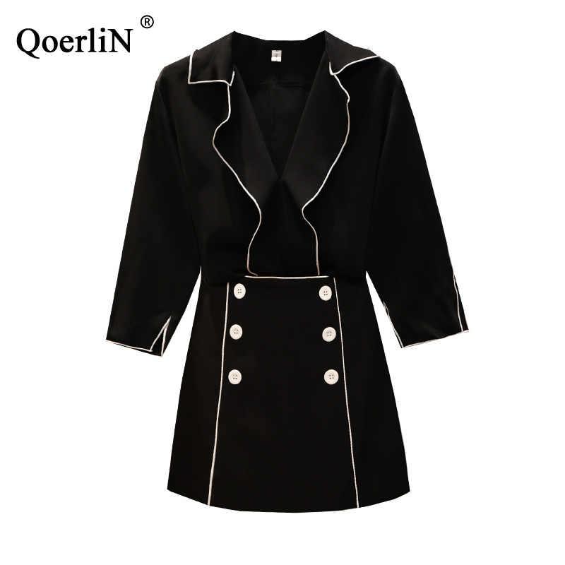 QoerliN/большой размер/L-4XL блузка из двух частей и юбки женские весенние/летние костюмы белые комплекты женские черные Модные Винтажные 2 шт.