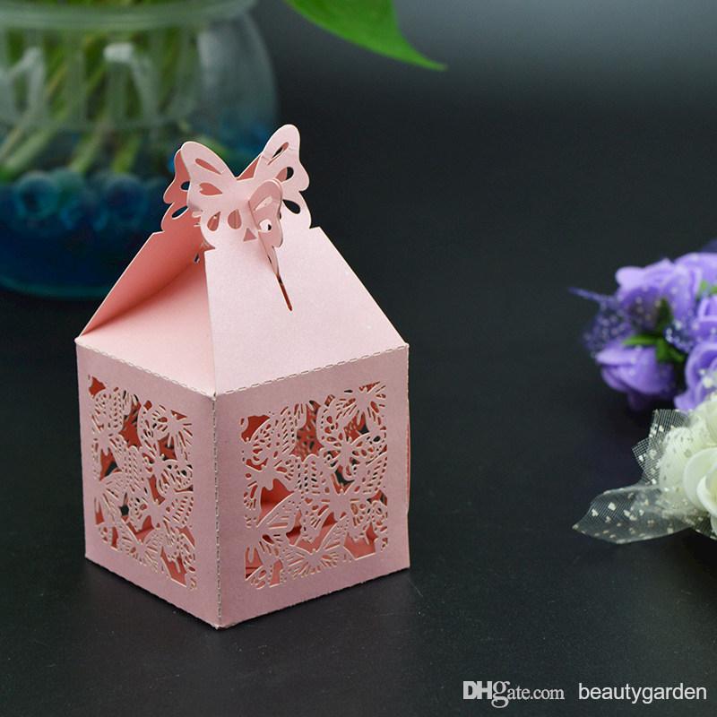 120 pcs/lot Mini Papier Papillon Boîte De Bonbons De Forme Gourmandise Laser Cut Cas Emballage De Mariage Parti Cadeau Doux Sac Titulaire wc145