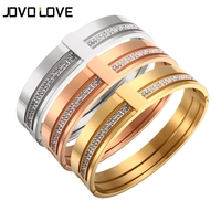 Mother Days Gift CZ Zircon Titanium Stainless Steel Love Cuff Bangle Crystal Brand Lover Charm Bracelets