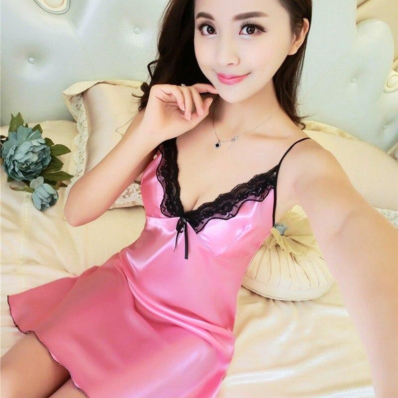 Women's Sexy Lingeri Satin Sleepwear Femmes Nightwear Silk Dress Lace Nightdress Nightgown Nightie Homewear Chest Pad Night