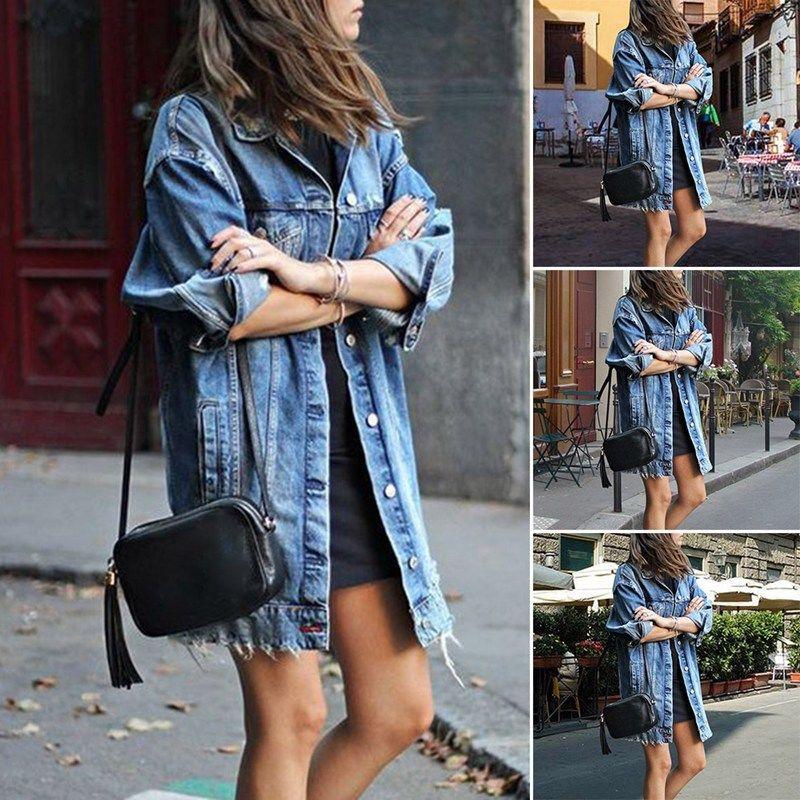 HTB1Xz.fLSzqK1RjSZFjq6zlCFXar Women's Basic Coat Holes Baggy Denim Jacket Long Sleeve Loose Street Style Outwear Winter NEW