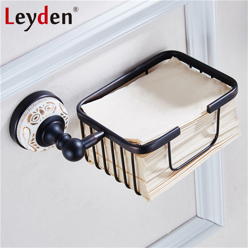 Leyden ORB/Antique Brass Toilet Paper Holder Basket Golden Black Wall Mounted White Porcelain Base Copper Bathroom Shelf Storage black of toilet paper all copper toilet tissue box antique toilet paper basket american top hand cartons