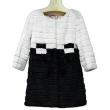 Autumn Winter Women's Real Genuine Natural Rex Rabbit Fur Coat Lady Medium-long Clothing Outerwear VF0235