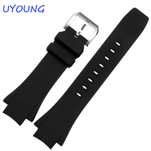 Quality Silicone Watchband 26*16mm Black Watch accessories For IW378203 IW354807 Strap